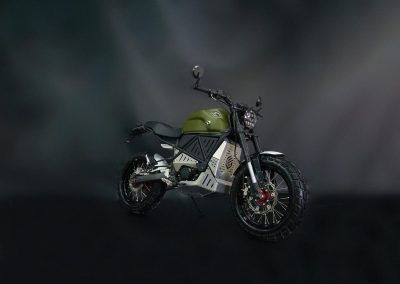 EMGo-Scramper-ElectricMotorcycle-Green-whole-exhibit