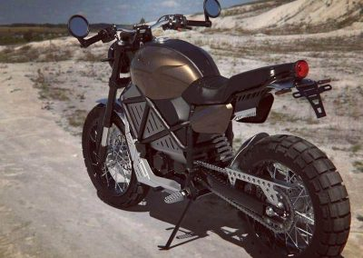 EMGo-Scramper-ElectricMotorcycle-Green-whole-street